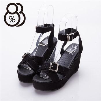 【88%】真皮革質感 交叉環扣設計楔型10CM高跟涼鞋 個性流行坡跟好走 4CM防水台(2色)