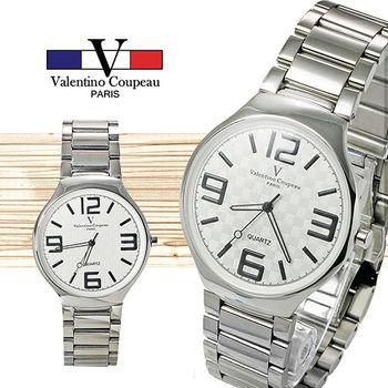 【Valentino范倫鐵諾】超薄大數字個性手腕錶(白)