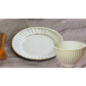 益子燒 KINARI 飯碗 湯碗(大)+平盤 兩件組
