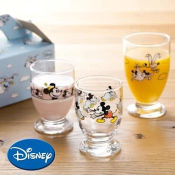 迪士尼 日本製MICKEYS NIGHTMARE 米奇米妮 果汁杯 玻璃杯 禮盒 / 一組三只 親子杯