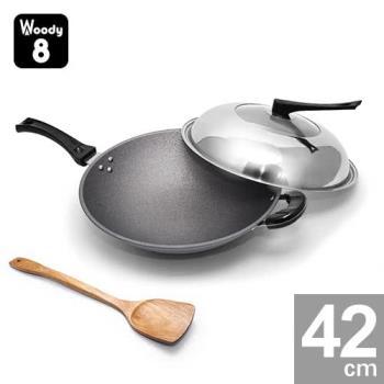 Woody 8-純手工鑄造鈦合金不沾炒鍋 42cm (單耳) 送木煎匙