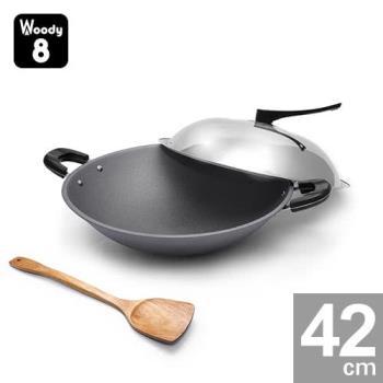 Woody 8-純手工鑄造鈦合金不沾炒鍋 42cm (雙耳) 送木煎匙