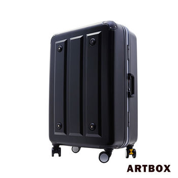 【ARTBOX】暗影獵人-24吋 ABS鑽石紋撞色鋁框行李箱(新月銀)