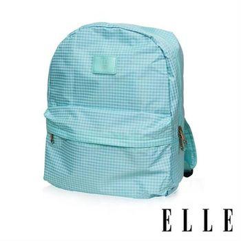 【ELLE】輕旅休閒可掛式摺疊收納尼龍後背包(格紋綠 EL83886-12)