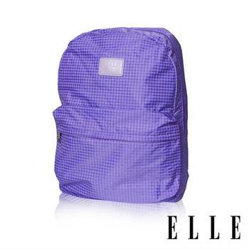 【ELLE】輕旅休閒可掛式摺疊收納尼龍後背包(格紋紫 EL83886-24)