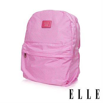 【ELLE】輕旅休閒可掛式摺疊收納尼龍後背包(格紋粉 EL83886-33)