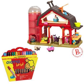 【美國B.Toys】農村曲(搖滾動物農莊)+【義大利 GIOTTO】可洗式寶寶木質蠟筆(12色)