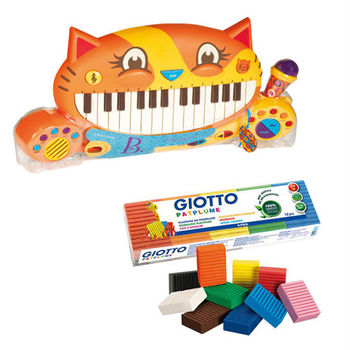 【美國B.Toys】大嘴貓鋼琴+【義大利 GIOTTO】蔬菜黏土隨行包10色(50g)