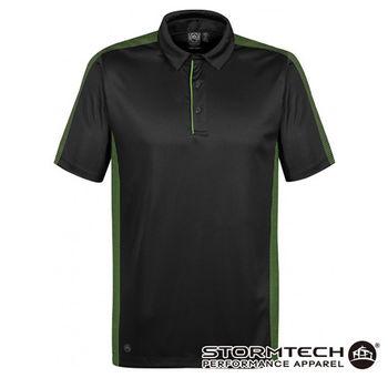 【加拿大STORMTECH】XPX-1獨家吸排快乾防勾側邊格點跳色POLO衫-男(黑綠) 通路獨賣