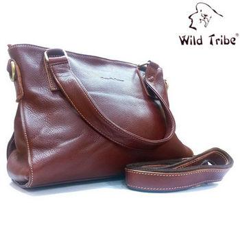 【Wild Tribe】雅致褐兩用長型真皮手提/肩背包(QP8454)