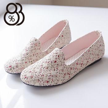 【88%】彩繪花布花朵 蕾絲透視設計 樂福鞋懶人鞋 焦點目光平底包鞋 2色