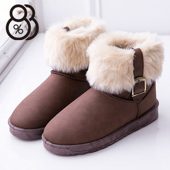 【88%】防水皮革防滑膠底 絨毛溫暖內裡 舒適毛絨反摺百搭 短筒雪地靴 雪靴 3色