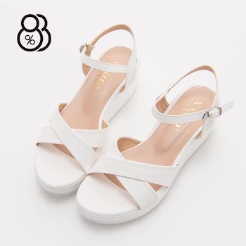 【88%】韓版高質感氣質滿分 麂皮材質繞帶交叉厚底涼鞋(3色)