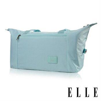 【ELLE】輕旅休閒可掛式摺疊收納尼龍手提行李包(格紋綠 EL82358-12)