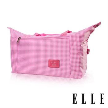 【ELLE】輕旅休閒可掛式摺疊收納尼龍手提行李包(格紋粉 EL82358-33)