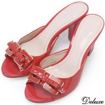 【Deluxe】真皮性感女人扣飾蝴蝶綁帶高跟涼鞋(紅)