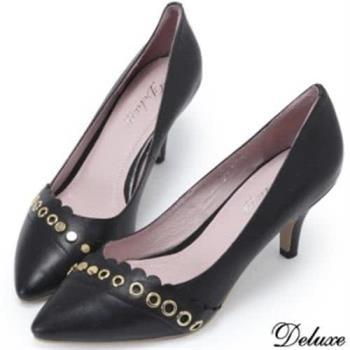 【Deluxe】全真皮金屬扣飾花邊優雅細跟高跟鞋(黑)