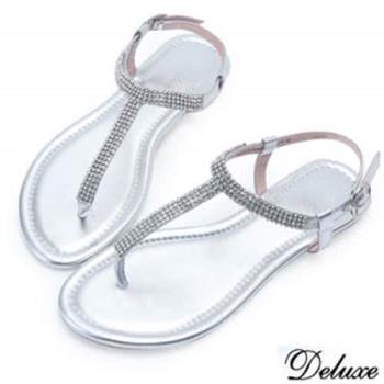 【Deluxe】全真皮水鑽T字夾腳涼鞋-銀