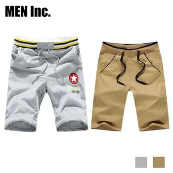 超值2件組 Men Inc.「陽光型男」L-3XL韓星休閒短褲+美國運動休閒褲