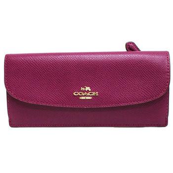 【COACH】經典立體金屬馬車LOGO 全皮革後拉鍊口袋薄型長夾(紫)