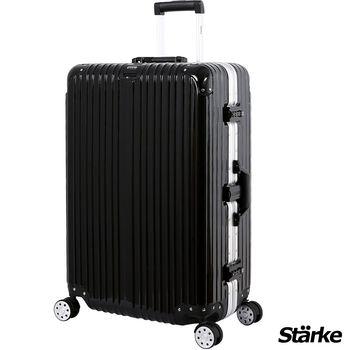 【德國設計Starke】A系列 28吋 PC+ABS 鏡面鋁框硬殼行李箱-黑色