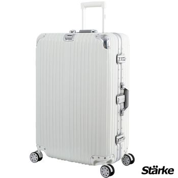 【德國設計Starke】A系列 28吋 PC+ABS 鏡面鋁框硬殼行李箱-白色