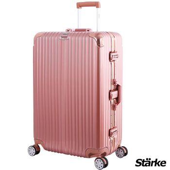 【德國設計Starke】A系列 28吋 PC+ABS 鏡面鋁框硬殼行李箱-玫瑰金