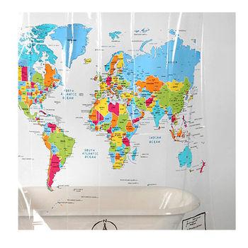 賽先生科學工廠|世界地圖浴簾-透明英文版