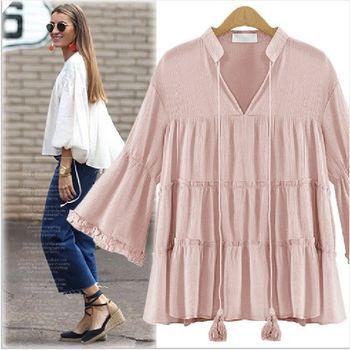 (現貨+預購 RN-girls)-歐美夏季新款V領寬鬆中大尺碼流蘇雪紡上衣