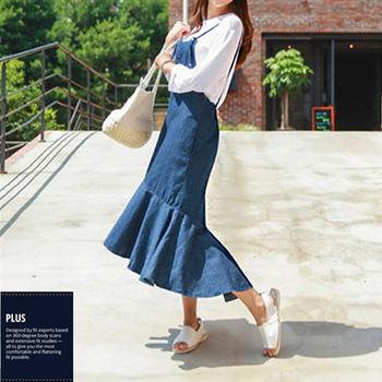 【SCL南加州丹寧時尚】T1646 優雅氣質荷葉裙擺牛仔連身長裙細肩綁帶洋裝