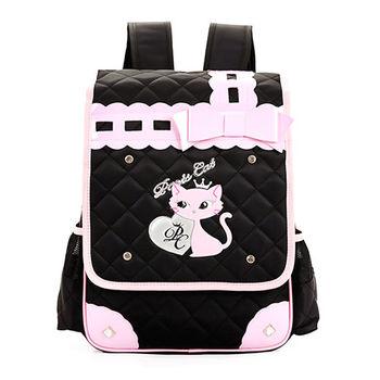 【17mall】韓版時尚可愛貓蝴蝶結後背減壓書包-黑