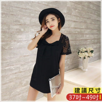 WOMA-S6074韓款性感圓領蝴蝶結寬鬆顯瘦上衣(黑色)WOMA中大尺碼上衣