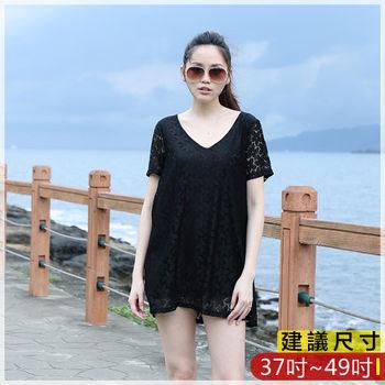 WOMA-S6168韓款甜美蕾絲性感V領寬鬆修身上衣(黑色)WOMA中大尺碼上衣