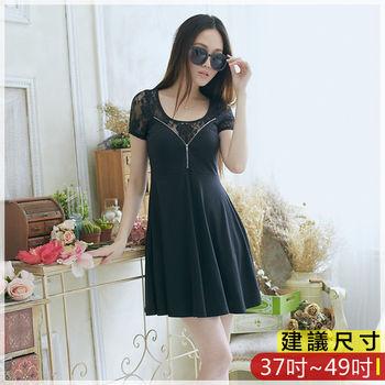 WOMA-S6318韓款OL氣質蕾絲圓領修身洋裝(黑色)WOMA中大尺碼上衣