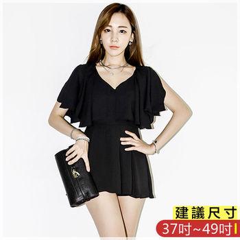 WOMA-S7292韓款OL氣質V領荷葉邊拼接修飾上衣(黑色)WOMA中大尺碼上衣