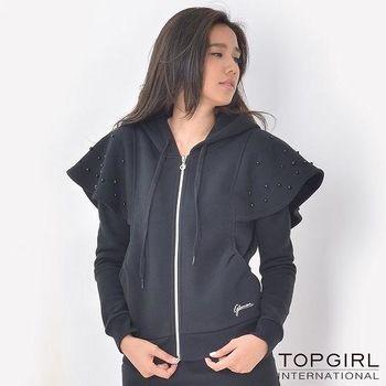 【TOP GIRL】雙肩小斗篷造型連帽外套 (神祕黑)