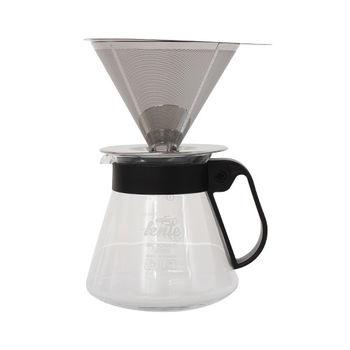 慢拾光 手沖式不鏽鋼咖啡組600ml(附蓋+濾杯)