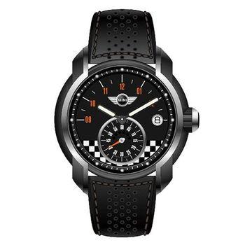 【MINI Swiss Watches】英倫風範單眼運動計時腕錶-黑(MINI-50E)
