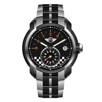 【MINI Swiss Watches】英倫風範賽車旗幟運動計時鋼帶腕錶-黑(MINI-50ES)
