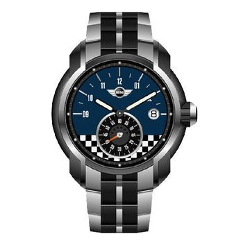 【MINI Swiss Watches】英倫風範賽車旗幟運動計時鋼帶腕錶-藍(MINI-51ES)