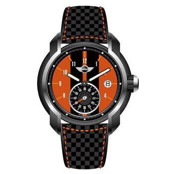 【MINI Swiss Watches】英倫風範單眼運動計時腕錶-黑x橘(MINI-46)