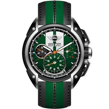 【MINI Swiss Watches】英倫風範運動計時腕錶-綠x黑(MINI-03)