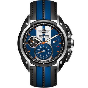 【MINI Swiss Watches】英倫風範運動計時腕錶-藍x黑(MINI-02)