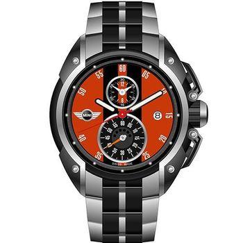 【MINI Swiss Watches】英倫風範運動計時鋼帶腕錶-黑x橘(MINI-15)