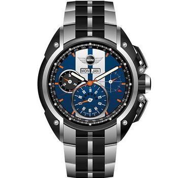 【MINI Swiss Watches】英倫風範運動計時鋼帶腕錶-藍x黑(MINI-02S)