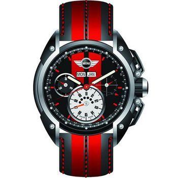 【MINI Swiss Watches】英倫風範運動計時腕錶-紅x黑(MINI-01)