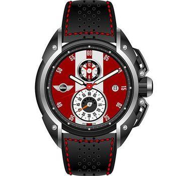 【MINI Swiss Watches】英倫風範運動計時腕錶-紅x黑(MINI-08)