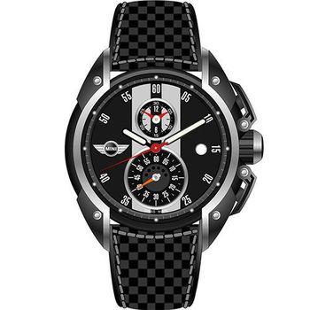 【MINI Swiss Watches】英倫風範運動計時腕錶-黑x白(MINI-12)