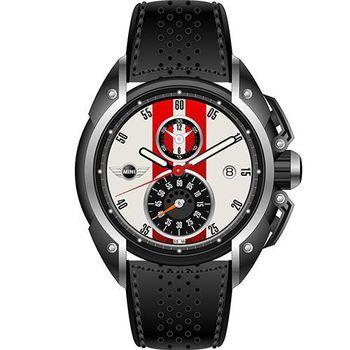 【MINI Swiss Watches】英倫風範運動計時腕錶-黑x白x紅(MINI-14)