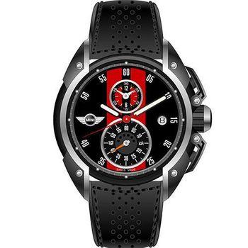 【MINI Swiss Watches】英倫風範運動計時腕錶-黑x紅(MINI-11)